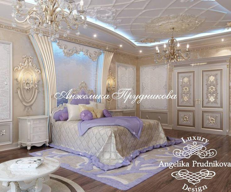 Бежево-сиреневая спальня с лепниной в отделке