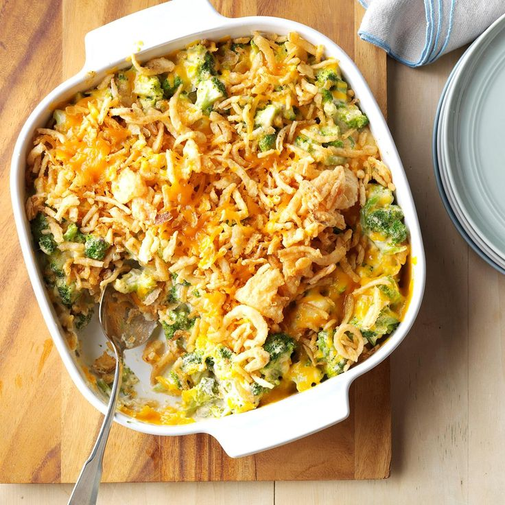 Cheesy Cheddar Broccoli Casserole Recipe -People who don't even like broccoli beg me to make this comforting recipe. It's similar to a classic green bean casserole, but the melted cheese just puts it over the top. —Elaine Hubbard, Pocono Lake, Pennsylvania