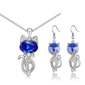 Austria Crystal Naughty Cat Platinum Rhinestone Necklace Earrings Jewelry Set at Banggood