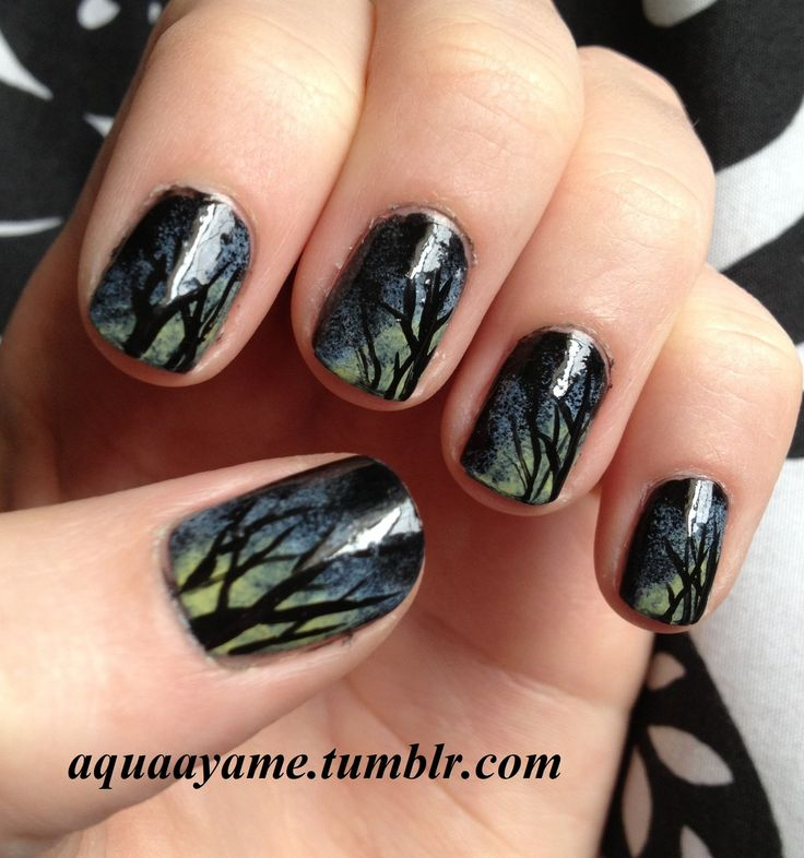 Duskey Trees, inspired by LuvableNails check her out on Youtube!