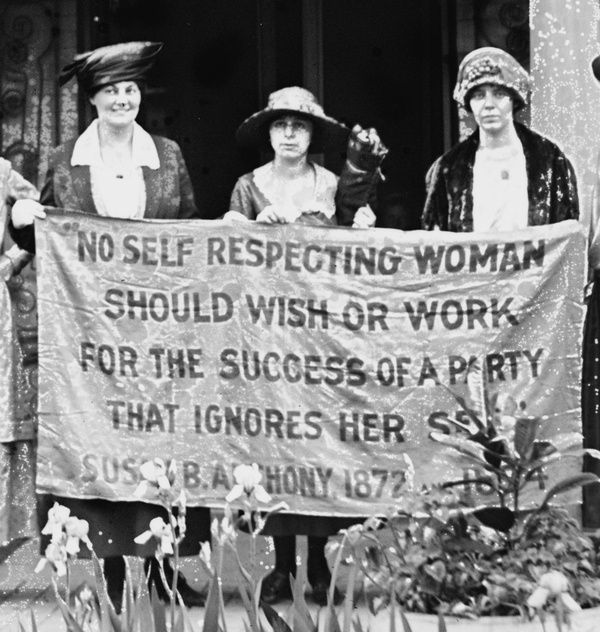 Women working for the vote. Quote by Susan B. Anthony.