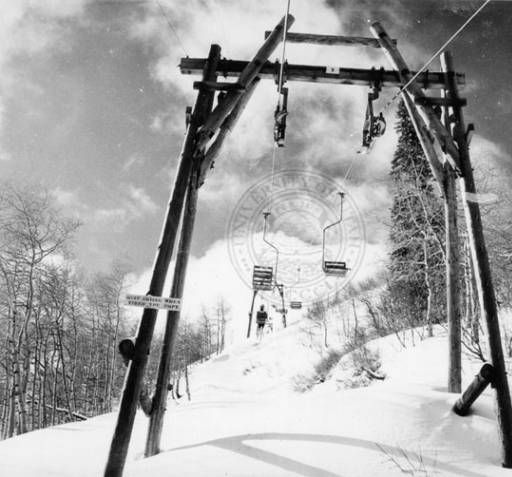 Wildcat, the first lift at Snow Basin ::   Univ of Utah - Multimedia Archives Photographs     Skiing, Ski, Utah, Ogden, Snowbasin, Snow Basin