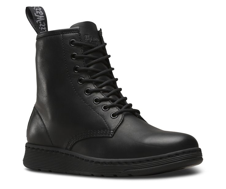 This is the monochromatic Newton: an iconic Dr. Martens style for a new generation. All the essential DNA from our 8-eye silhouette remains, like welt stitching, grooved sides, and heel-loop. But the Newton is an evolution, with a modern, sleek silhouette — minus a third of the weight. The Newton 8-eye unisex boot is made with our DM's Lite technology: a lightweight, Phylon midsole with a slimline rubber outsole with good abrasion and slip resistance. The boot contains a wicking SoftWair™...