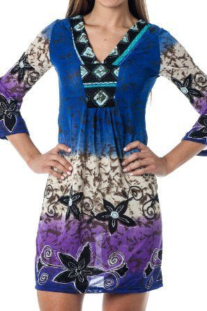 Tunic Top Short Summer beach Sundress coverup - Ethnic Floral ( sizes S-3X)