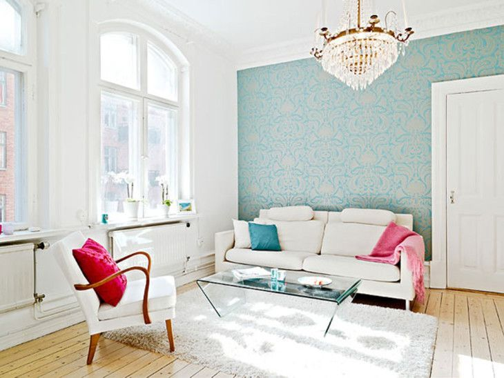 Lovely Minimalist Scandinavian Living Room Daily Interior Design With White Sofa And Blue Red Sofa Pillow Minimalist Living Room Decoration - pictures, photos, images