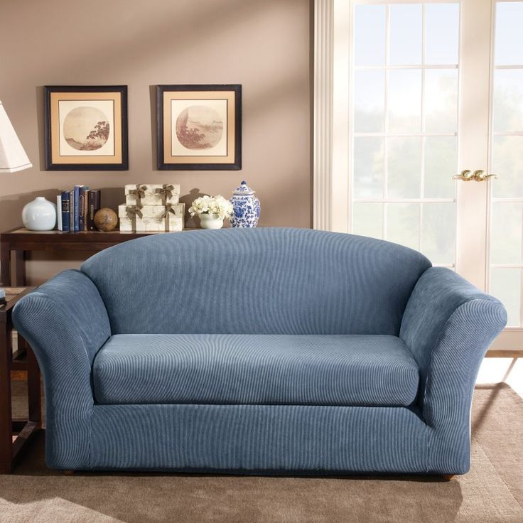 Sure Fit Stretch Stripe Two Piece Loveseat Slipcover Navy - 37635