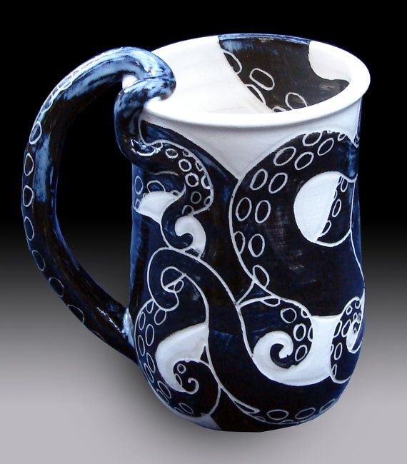 Octopus Mug by rhoneypots on Etsy. , via Etsy.