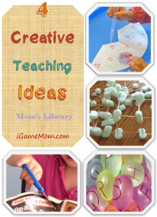 Four Creative Teaching Ideas with free or inexpensive household materials shared at Mom's Library - find out how creative these moms are! - from iGameMom.com --  #kidsactivities #teaching #learning