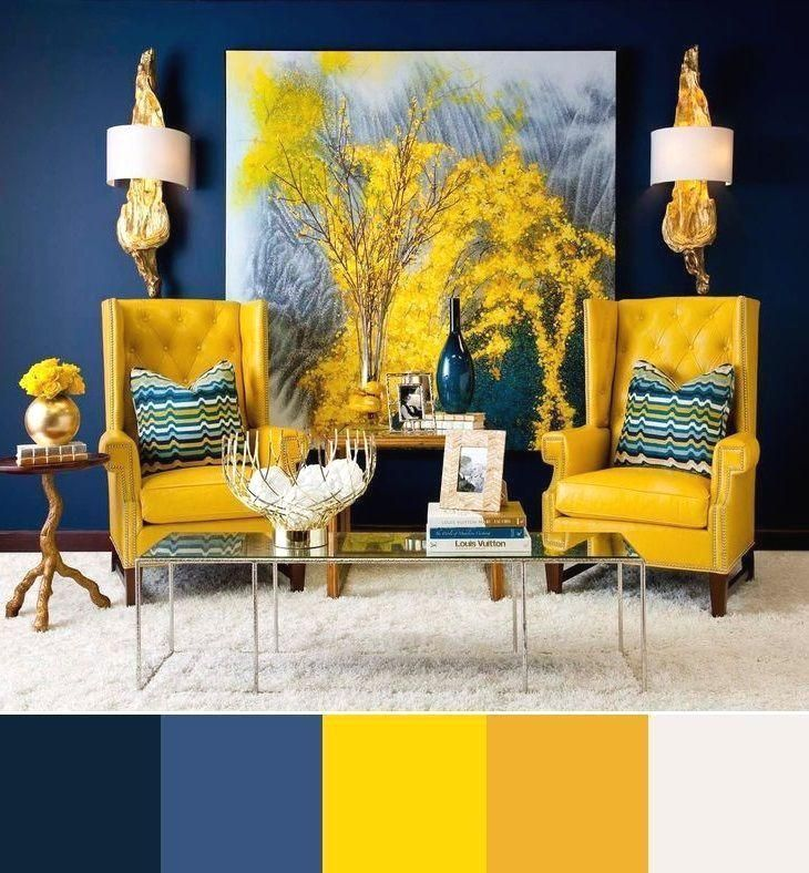 Blue And Yellow Interior Design Colour Scheme Blue Colour Design Gelb Int Interior Design Color Schemes Living Room Color Schemes Colorful Interior Design
