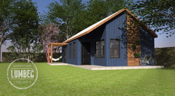 """This is the """"Azure"""" Lumbec Coach House Kit, a new 3-D design of a """"small house"""" I'd love to live in. The home is great for anyone who doesn't likelofts and woul…"""