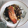 Salmon with Lentils and Mustard-Herb Butter (Saumon aux Lentilles): Butter Saumon, Food, Mustard Herb Butter, Favorite Recipes, Salmon Recipes, Lentils, Lentil