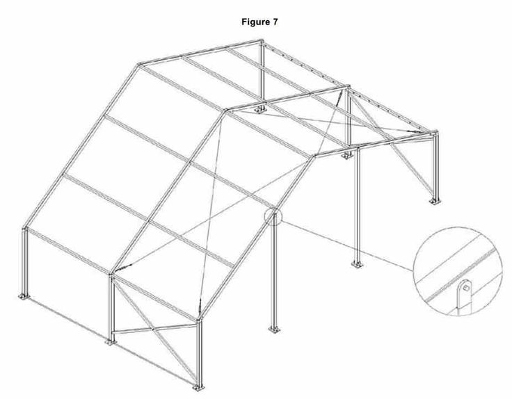 The roof wires and gable legs can be installed. To make a longer marquee connect upto 3 more bays together. The 4th bay will require another set of scissors or cross wires and roof wires.