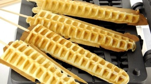 waffles on a stick - great food truck idea!                                                                                                                                                     More