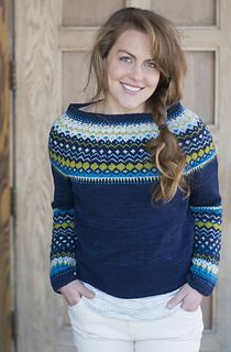 """Bridget Pullover,"" by Michele Rose Orne, knit in Swans Island All American Sport."