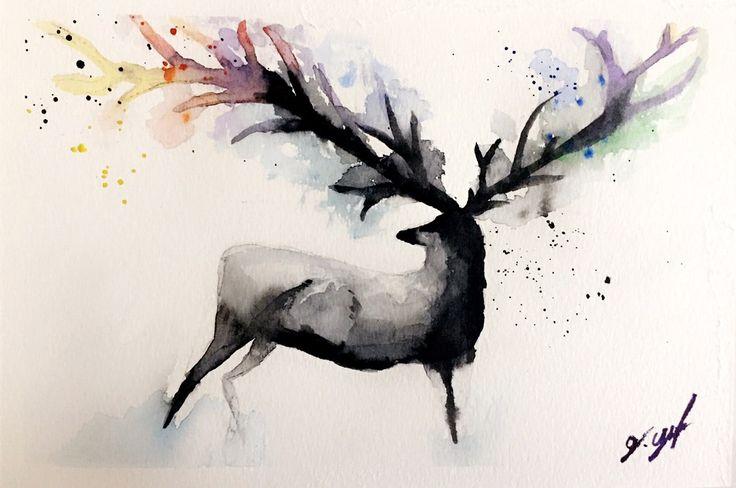 #watercolor #paint #deer #drawing #art