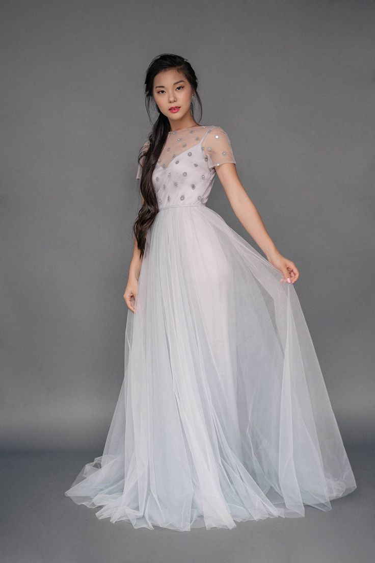 "Set of wedding separates ""Silver Wing"", short sleeve wedding dress, polka dot and tulle wedding gown, slip dress, a line tulle skirt, grey by Milamirabridal on Etsy https://www.etsy.com/uk/listing/540705834/set-of-wedding-separates-silver-wing"