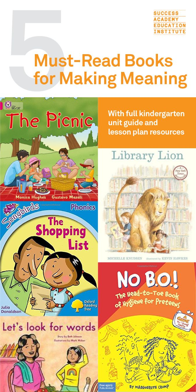 "5 Must-Read Books for Making Meaning in Kindergarten | Teach students how to unlock meaning in text by reading excerpts from, ""The Picnic,"" ""Library Lion,"" ""The Shopping List"" ""No Bo!"" and ""Let's Look for Words."" See the full free lesson plan outline on the Success Academy Ed Institute."