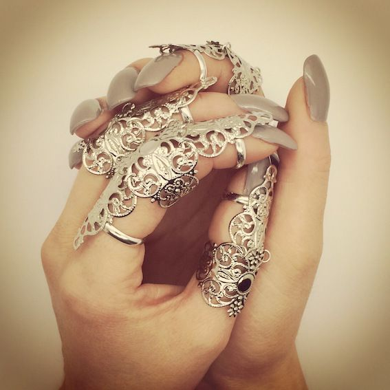 Full Finger Armor Ring - Silver