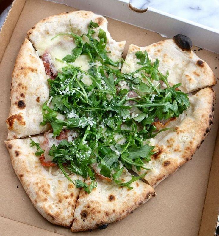 Ways to win my heart on Valentine's Day: prosciutto arugula heart-shaped pizza ❤️🍕