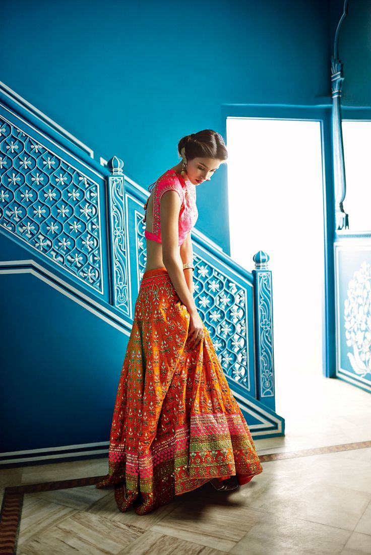 Orange Zardosi Lehenga