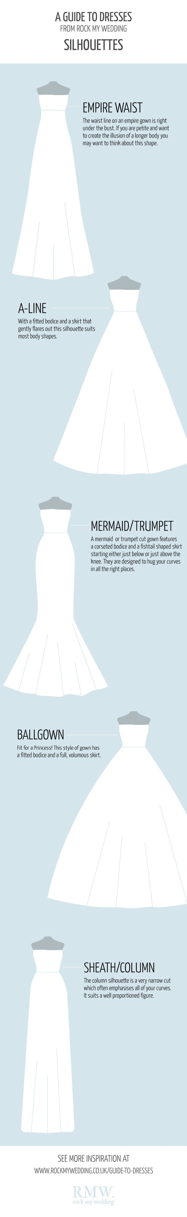 A Guide To Wedding Dress Shapes | http://www.rockmywedding.co.uk/wedding-dress-ideas/