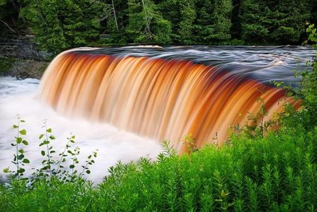 Tahquamenon Falls In The Upper Peninsula Of Michigan It