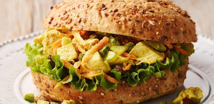 Chicken Bombay Salad in Whole-Grain Rolls