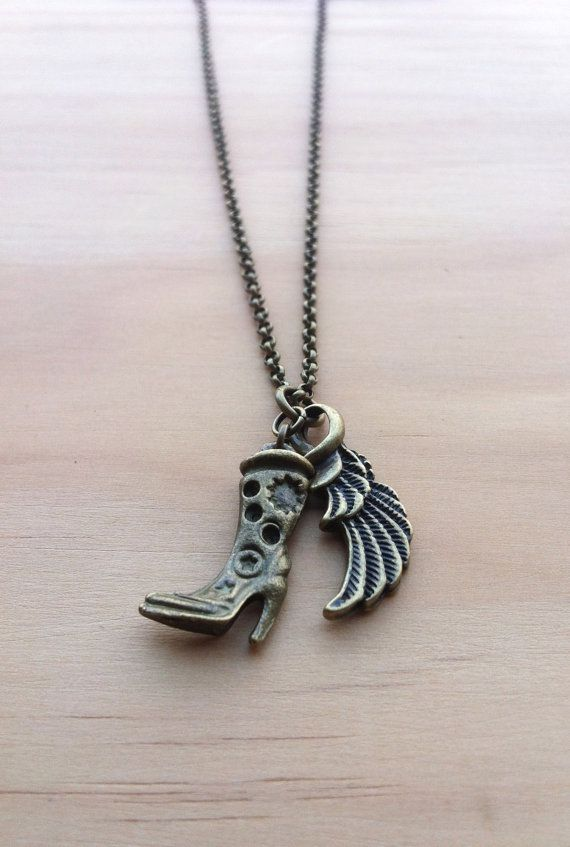 Cowboys and Angels Necklace  country boot & wing #cowgirl #Texas #dance