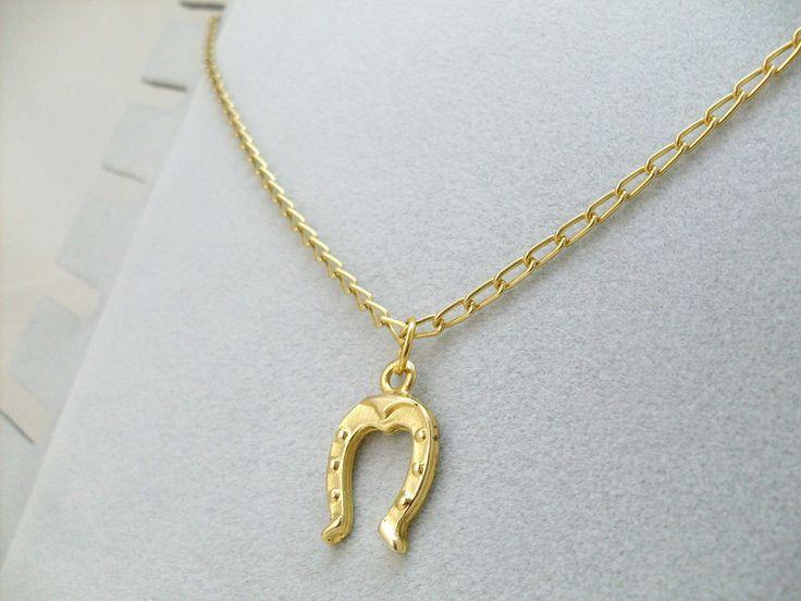 Collana Ciondolo Ferro di Cavallo Pendente Portafortuna Oro Cornetto