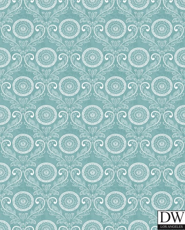 Jubilee Teal Medallion Damask Wallpaper  [FFA-82148] Frederica Frontere | Color: Teal | DesignerWallcoverings.com | Luxury Wallpaper | @DW_LosAngeles | #Custom #Wallpaper #Wallcovering #Interiors