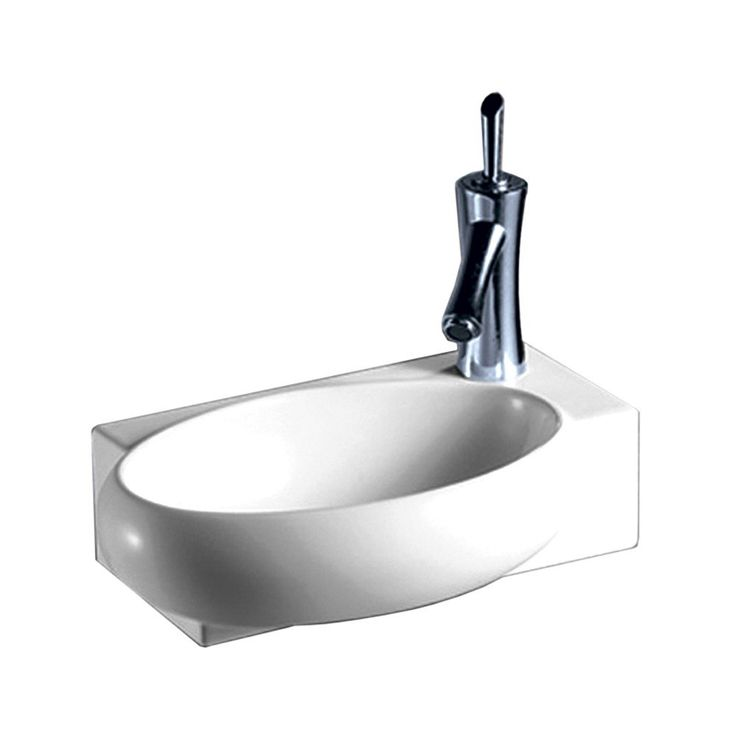 Whitehaus Isabella Rectangular Wall Mount Basin with Integrated Oval Bowl