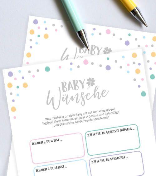 """Babyparty-Spiele-Karten """"Baby-Wünsche"""" – 10 Stück"""