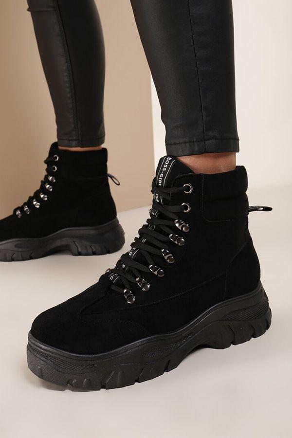 Chester Tramperos Botines Negros De Suela Gruesa Con Cordones Y Punta Redonda Estilo Sneakers Botines Negros Zapatos De Invierno Moda