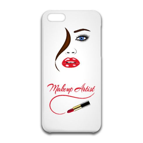 © Sunny Mars Designs. Trendy chic girly hair and beauty cosmetics stylish modern feminine makeup artist design iPhone 6 Case with a woman's face, full lips, blue eyes, brown hair and red lipstick.  iPhone 4 and 5 also available