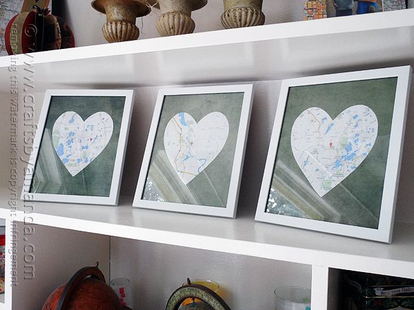 You may have seen something similar to these heart shaped framed maps on Pinterest. That's where I first saw them. There are several different versions, from individual frames like these, to one long frame with several hearts inside. The idea is great for a wedding gift, birthday, anniversary or even Christmas. Each map represents whereRead More »