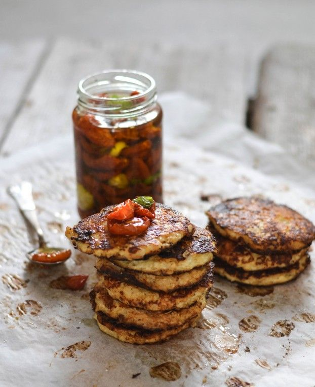 Cauliflower fritters with semi dried tomatoes in olive oil - A tasty love story