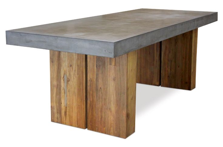 "Handmade lightweight concrete top, hollow reclaimed teak bases. Additional product dimension details: Inside measurement between teak legs / bases: 47.0875"" (122CMS) / Distance from end of table to outer teak leg / base: 13.75 inches (34.92CMS) / Table top thickness 4 inches (10.1CMS) / Height from base of table top to floor/ground: 26.5"" (67.3CMS)"