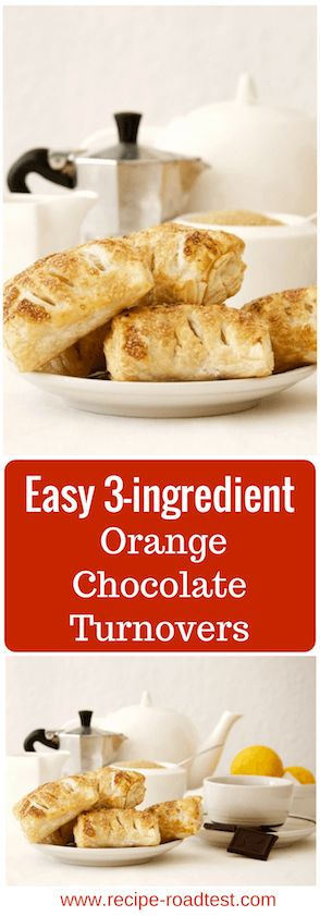 Just dark chocolate, orange zest and puff pastry, and 15 minutes of your time to throw these together. Then brush them with a bit of beaten egg and sugar, and breakfast looks fancy! http://www.recipe-roadtest.com/dessert-in-15-minutes-chocolate-orange-turnovers/