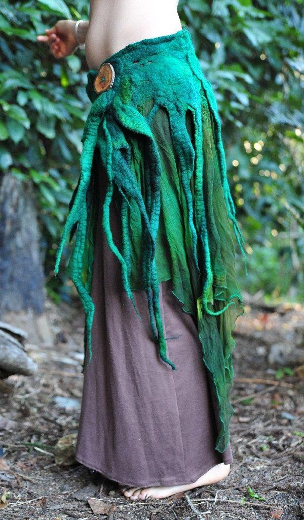 Felt Melted Wood Nymph Tree Roots Silk Green Hand Dyed Belt Skirt