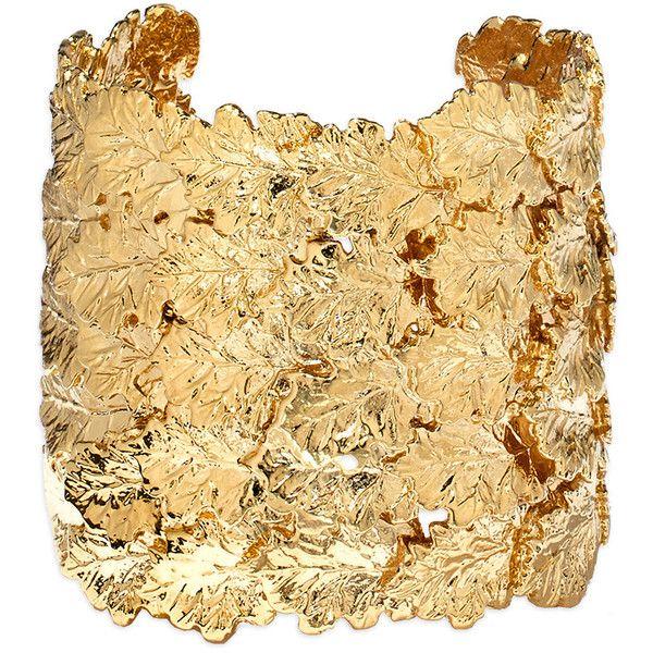 Aur?lie Bidermann Gold Leaf Cuff ($495) ❤ liked on Polyvore featuring jewelry, bracelets, gold, gold jewellery, cuff jewelry, leaf bangle, gold cuff bangle and gold tone jewelry