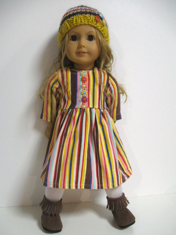 Perfect outfit for your favourite American Girl Doll    What you get...    Dress ... a soft corduroy babydoll dress in multi coloured stripe