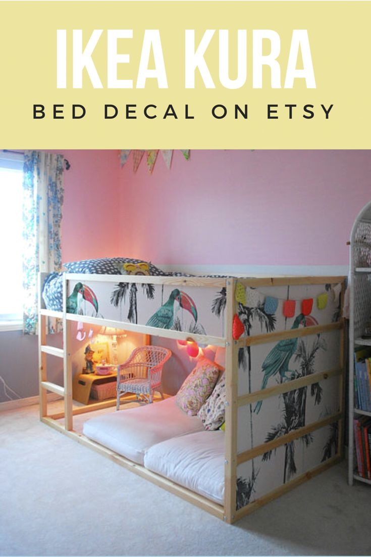 Ikea kura bed removable stickers palms and parrots ikea nursery decals furniture stickers - Stickers bambini ikea ...