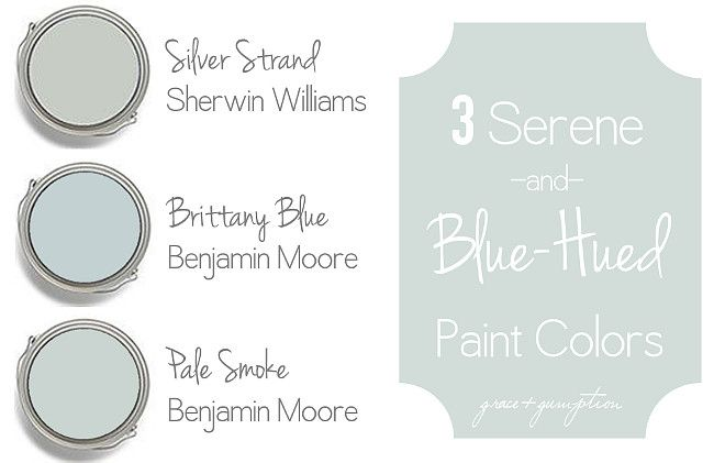Coastal Blue and Blue Gray Paint Colors: Silver Strand Sherwin Williams. Brittany Blue Benjamin Moore. Benjamin Moore Pale Smoke.  Via Grace and Gumption.