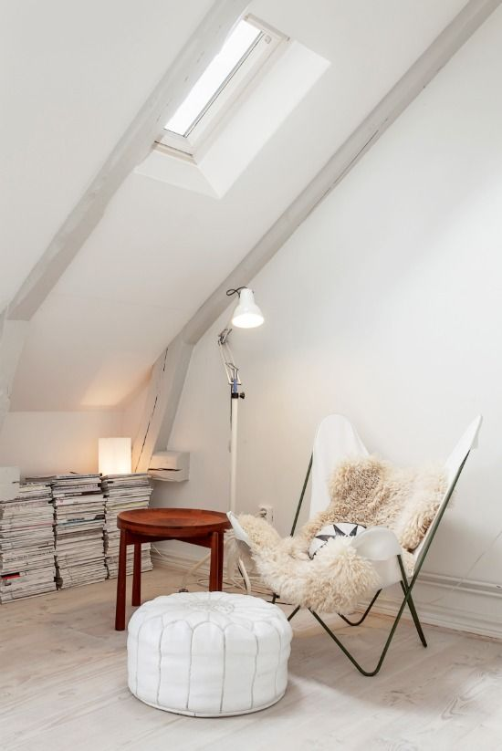 White Scandinavian style attic space. Airy and fresh with lovely mix of modern and vintage pieces