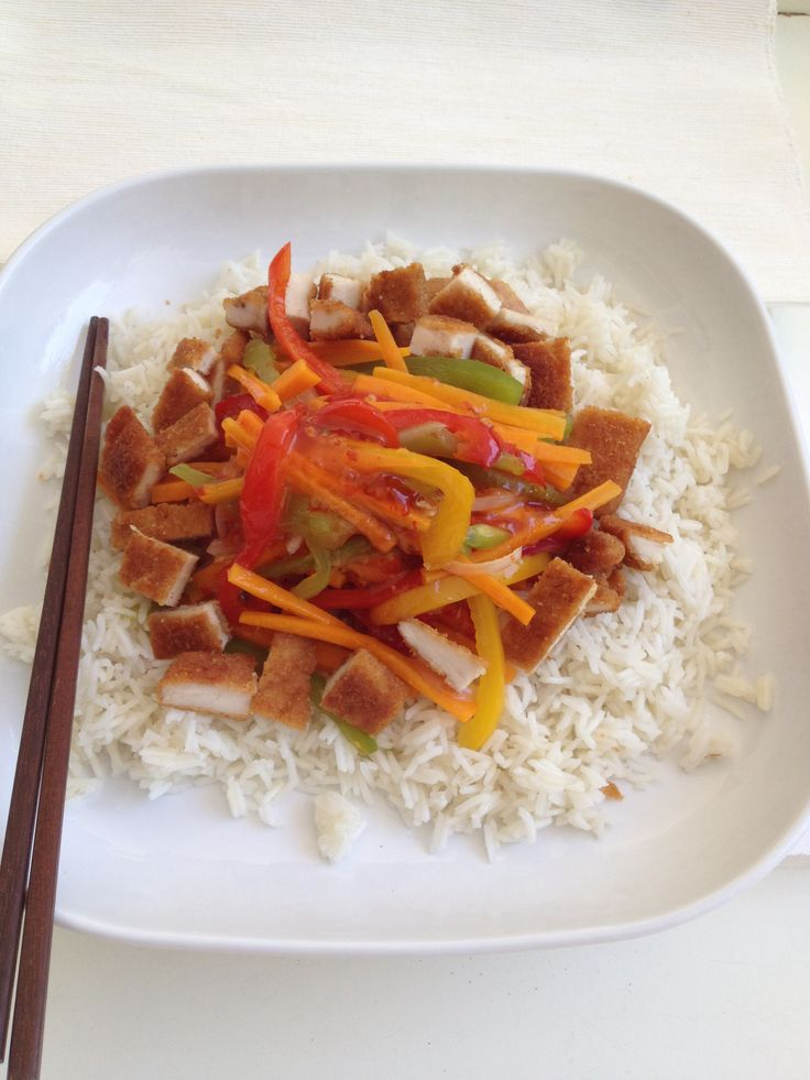 Basmati rice with chicken and vegetables http://www.instyle.gr/recipe/asiatika-lachanika-rizi-ke-snitsel-kotopoulo/