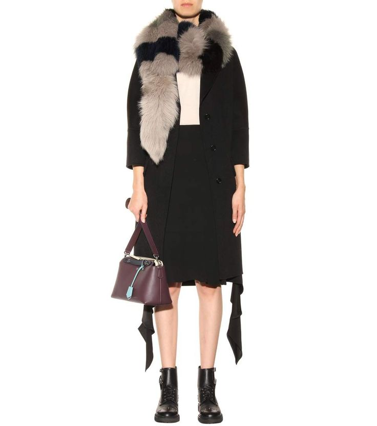 Grey and navy fox fur stole