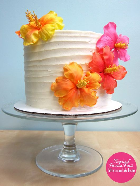 Passion fruit butter cream frosting. I want to try this on chocolate cake.