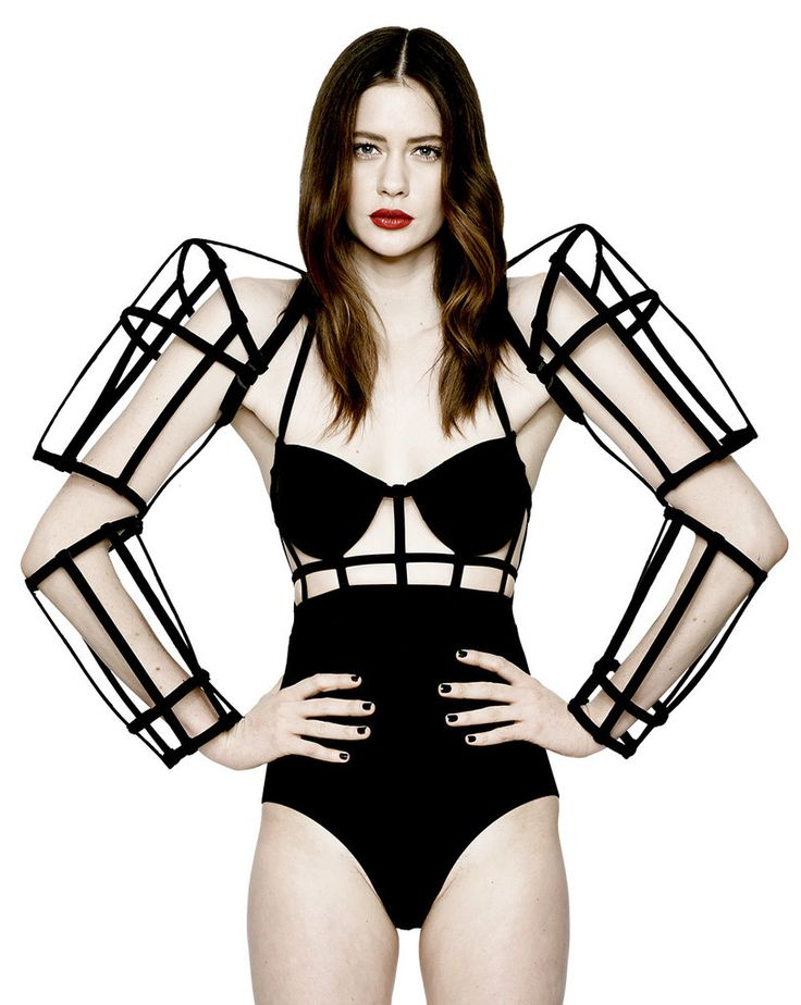 Sculptural Fashion - android-inspired arm cage; futuristic fashion armour // Chromat