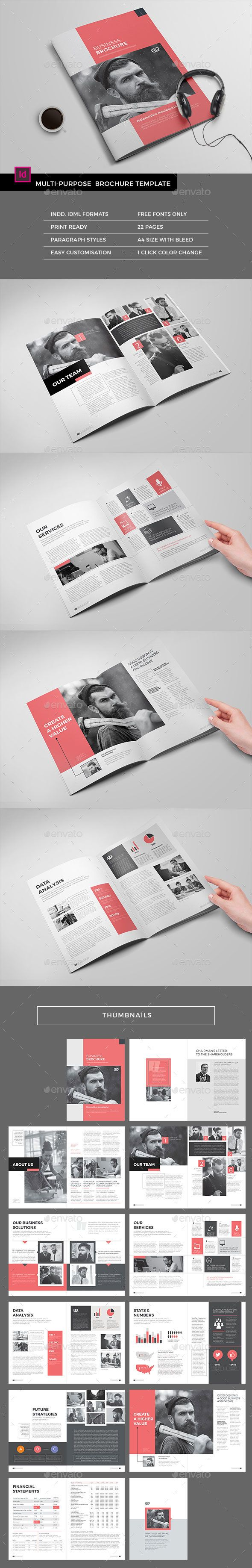 The Corporate Brochure Template InDesign INDD - 22 Pages, 300 DPI