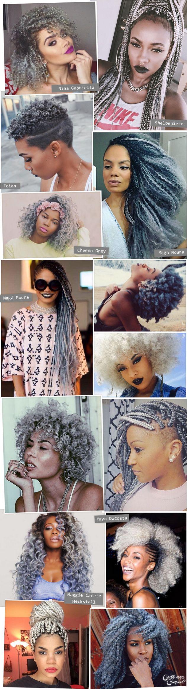 Afro Granny Hair | Silver Hair | Grey Hair | Cabelo cinza | Cabelo prateado | Cabelo crespo | Cabelo cacheado | http://cademeuchapeu.com                                                                                                                                                                                 Mais
